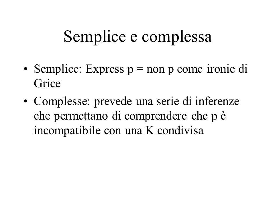 Semplice e complessa Semplice: Express p = non p come ironie di Grice
