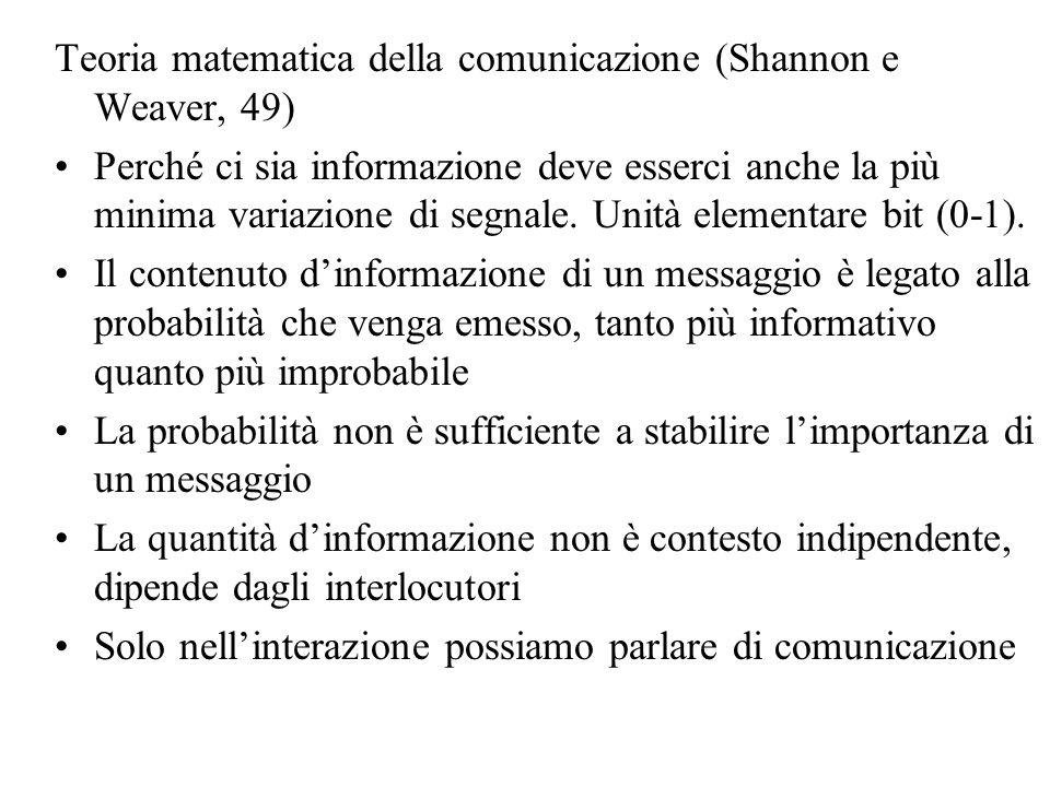 Teoria matematica della comunicazione (Shannon e Weaver, 49)