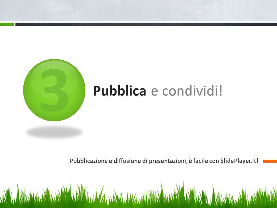3 Pubblica e condividi! Pubblicazione e diffusione di presentazioni, è facile con SlidePlayer.it!
