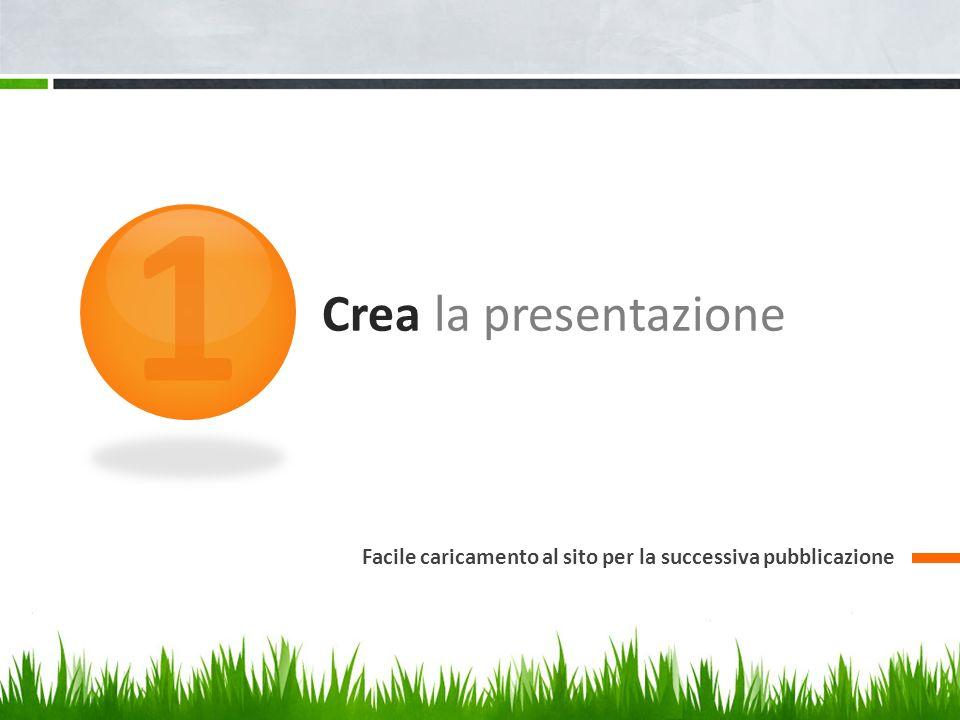 1 Crea la presentazione Facile caricamento al sito per la successiva pubblicazione