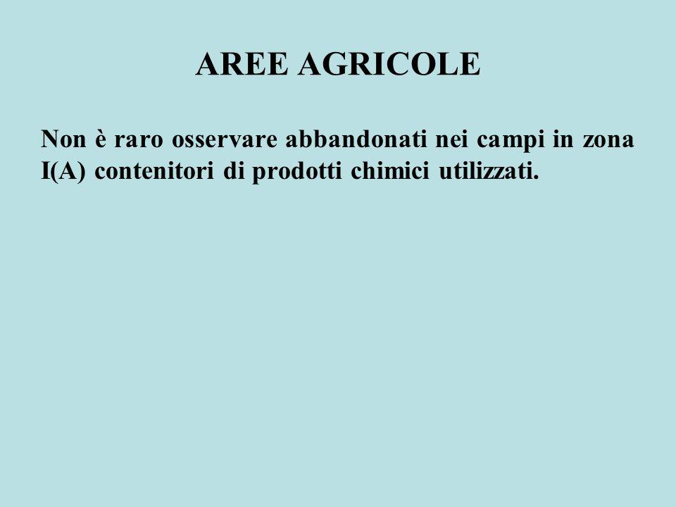 AREE AGRICOLE Non è raro osservare abbandonati nei campi in zona I(A) contenitori di prodotti chimici utilizzati.