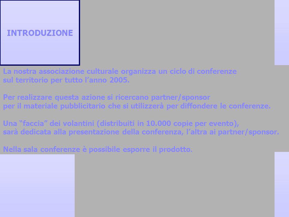 INTRODUZIONELa nostra associazione culturale organizza un ciclo di conferenze. sul territorio per tutto l'anno 2005.