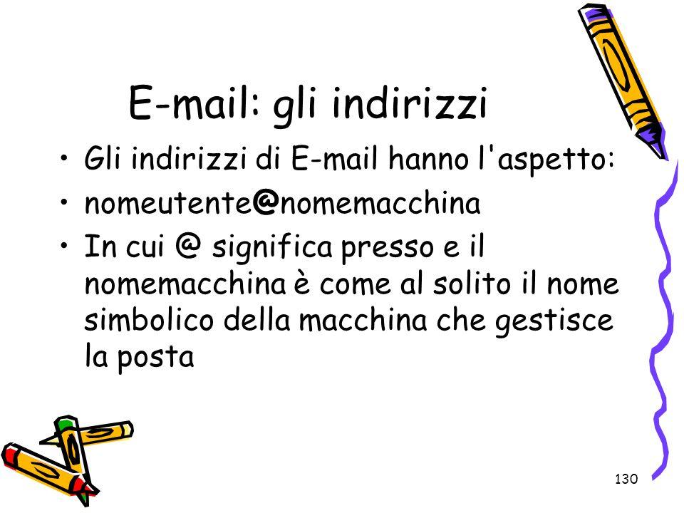 E-mail: gli indirizzi Gli indirizzi di E-mail hanno l aspetto: