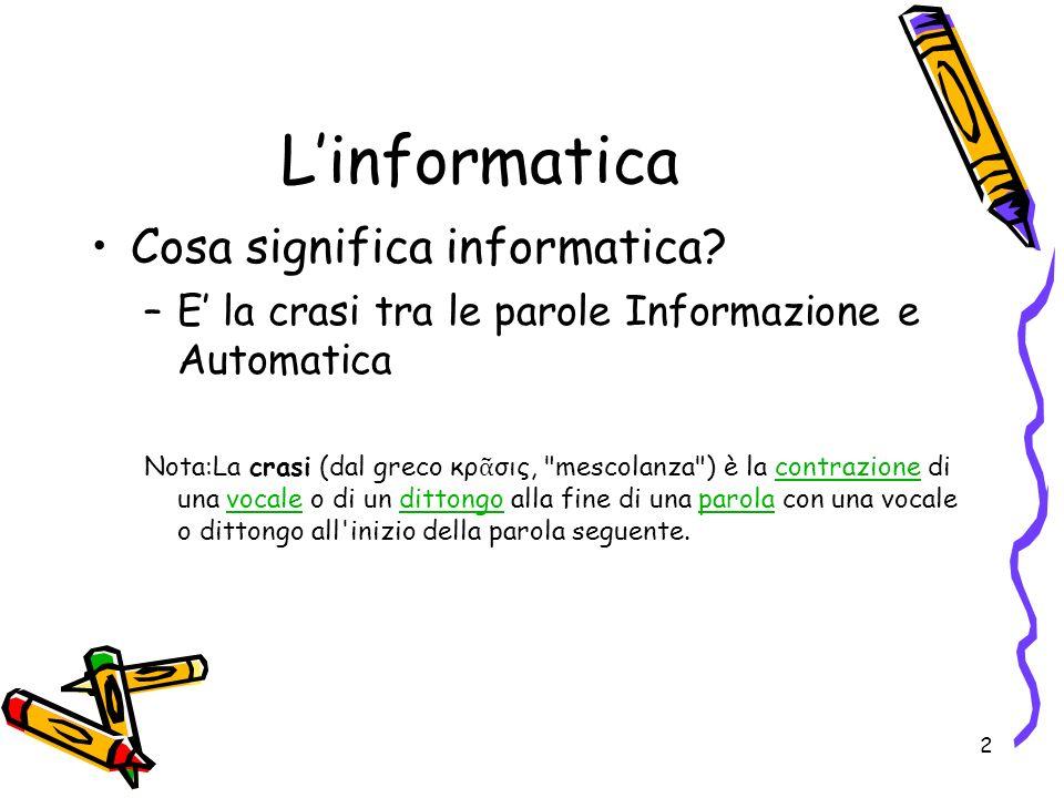 L'informatica Cosa significa informatica