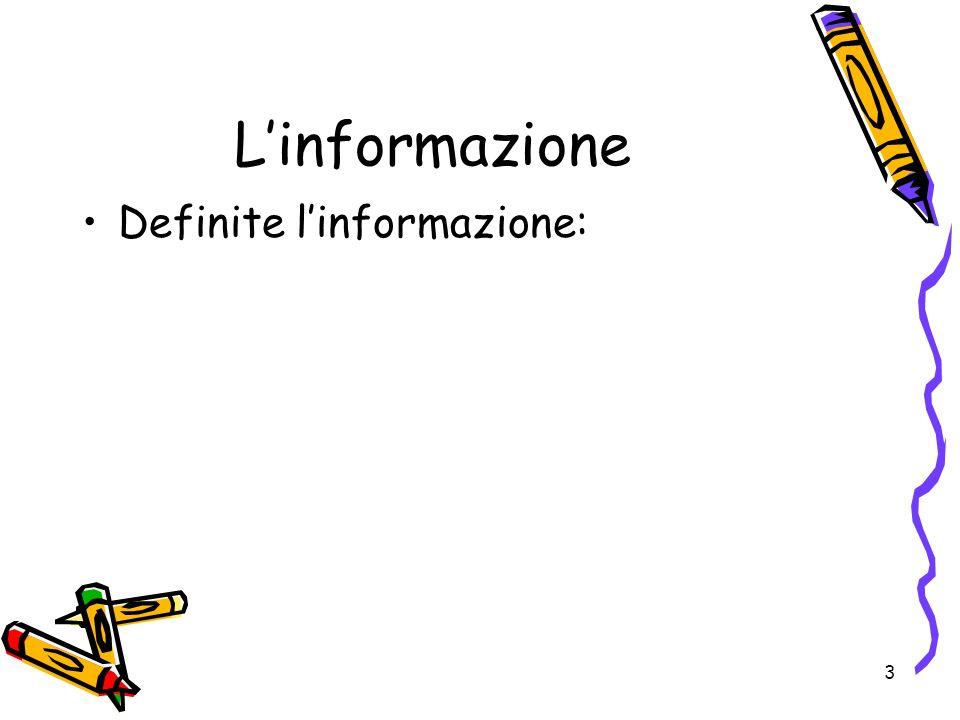 L'informazione Definite l'informazione: