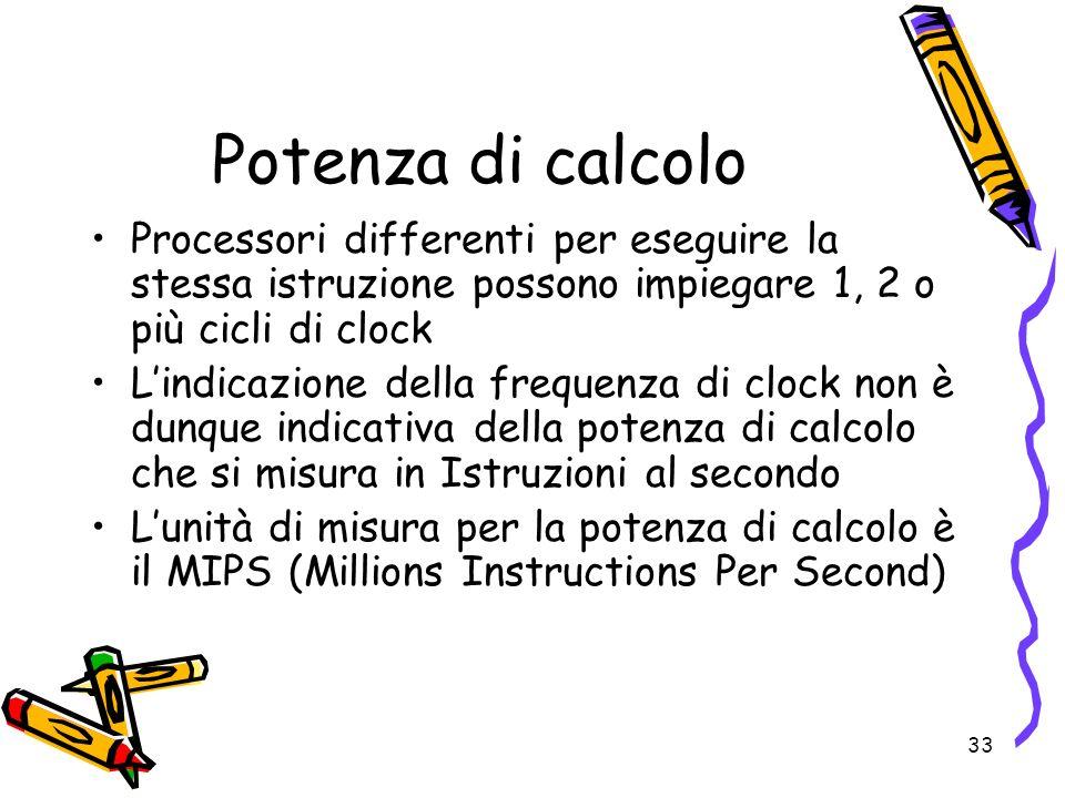 Potenza di calcolo Processori differenti per eseguire la stessa istruzione possono impiegare 1, 2 o più cicli di clock.
