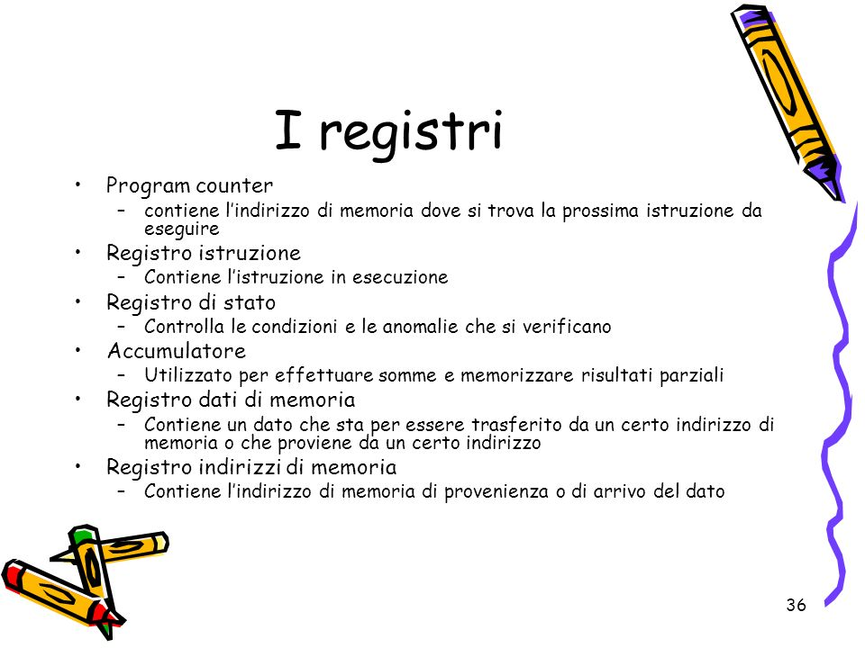 I registri Program counter Registro istruzione Registro di stato