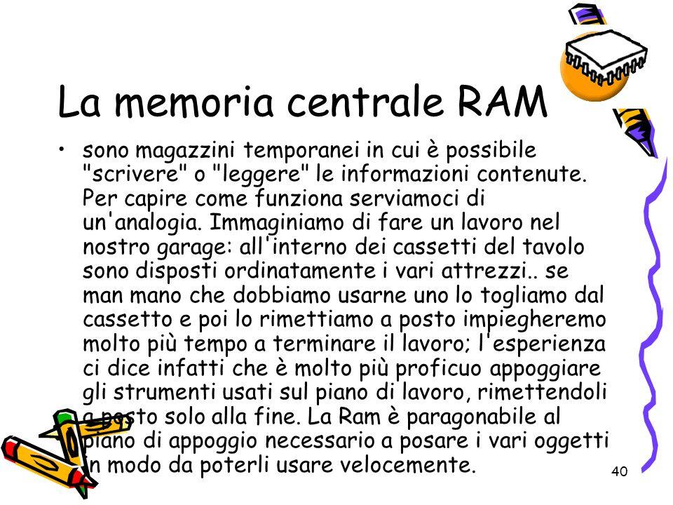 La memoria centrale RAM