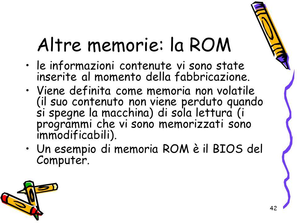 Altre memorie: la ROM le informazioni contenute vi sono state inserite al momento della fabbricazione.