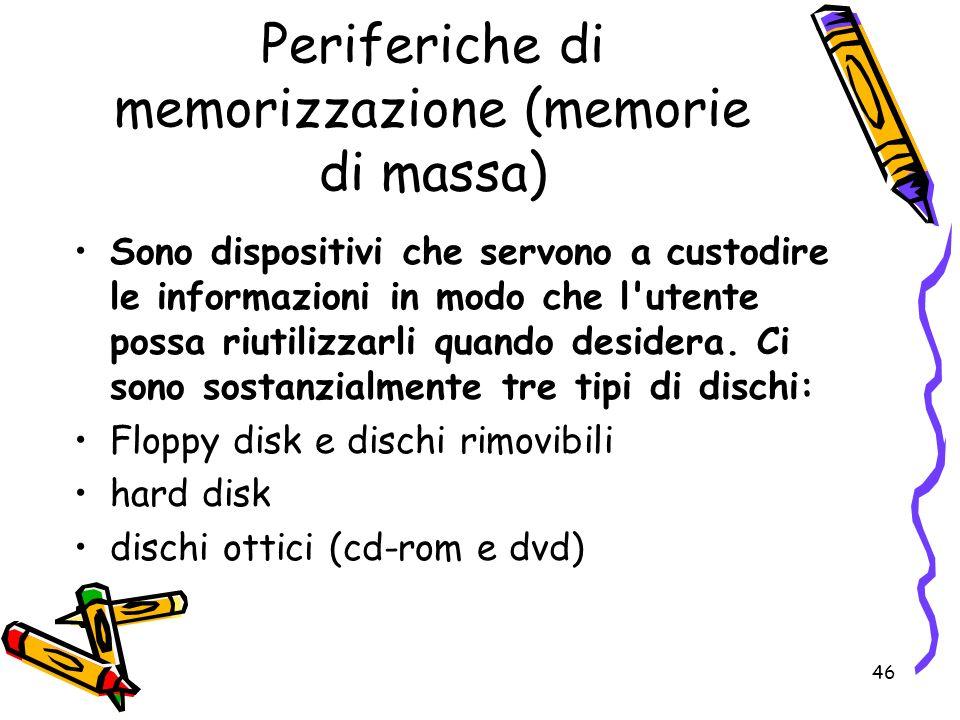 Periferiche di memorizzazione (memorie di massa)