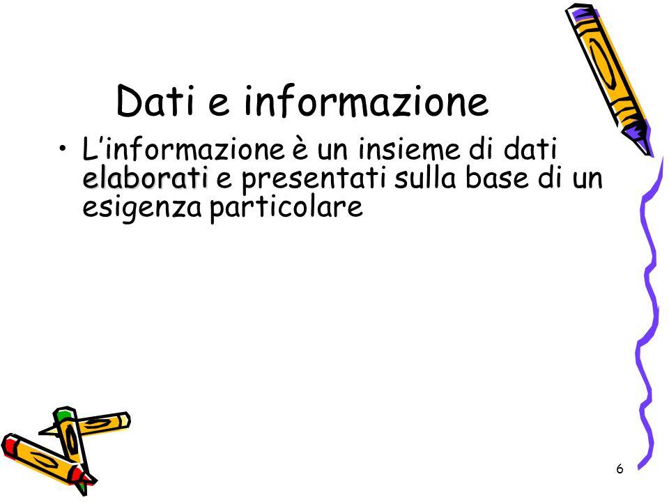 Dati e informazione L'informazione è un insieme di dati elaborati e presentati sulla base di un esigenza particolare.