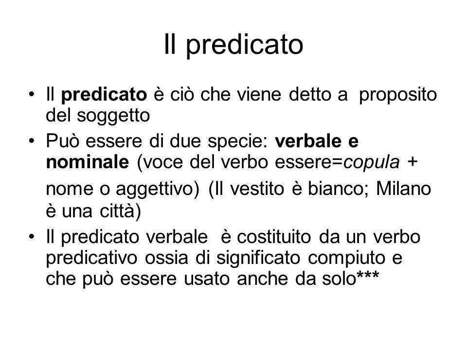 Il predicato Il predicato è ciò che viene detto a proposito del soggetto.