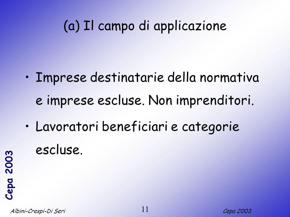 (a) Il campo di applicazione