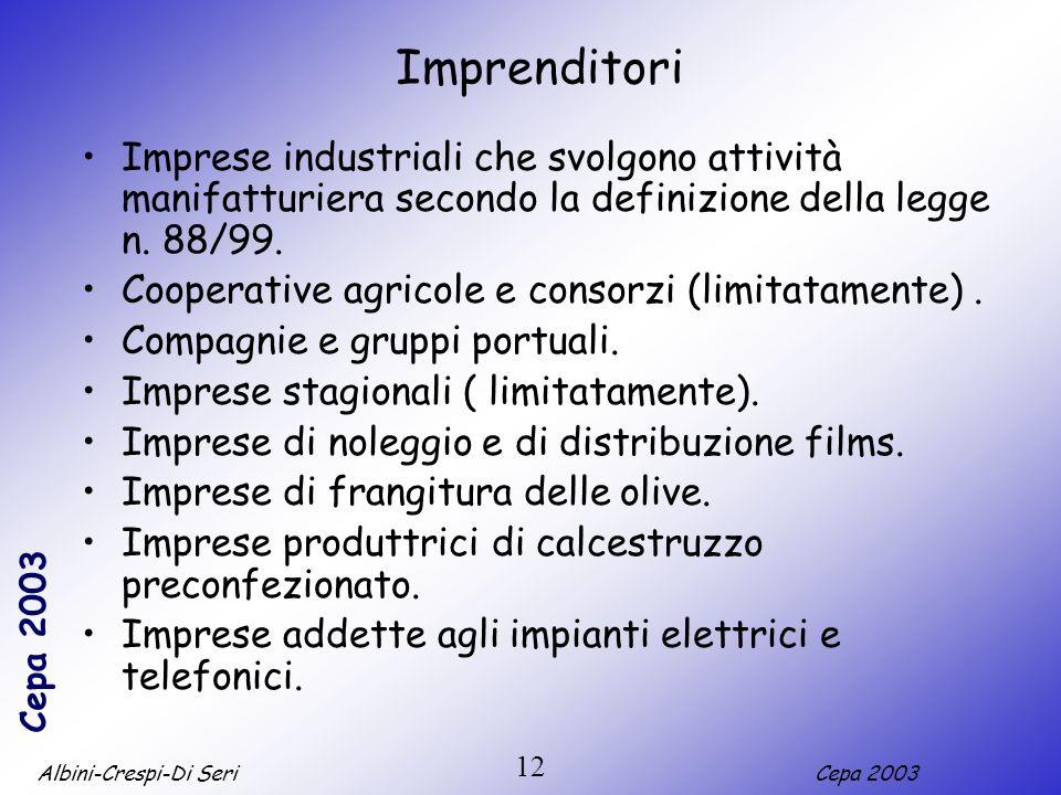 ImprenditoriImprese industriali che svolgono attività manifatturiera secondo la definizione della legge n. 88/99.