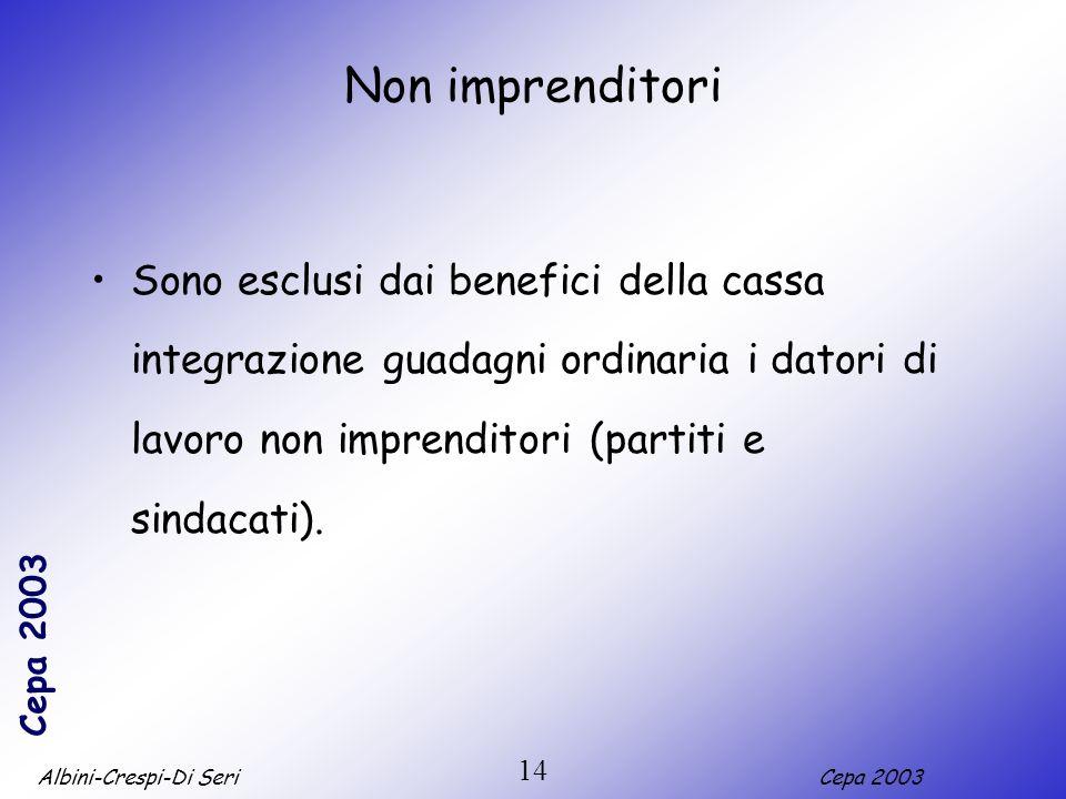 Non imprenditoriSono esclusi dai benefici della cassa integrazione guadagni ordinaria i datori di lavoro non imprenditori (partiti e sindacati).