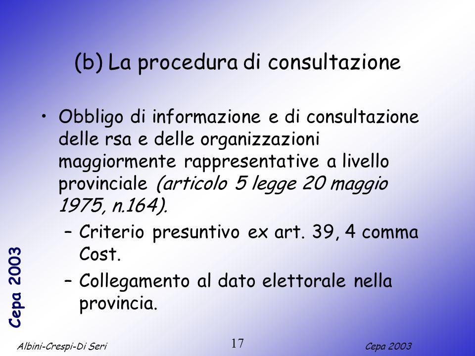 (b) La procedura di consultazione