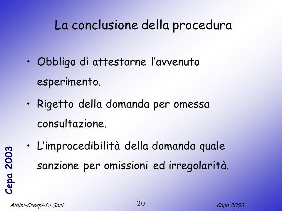La conclusione della procedura