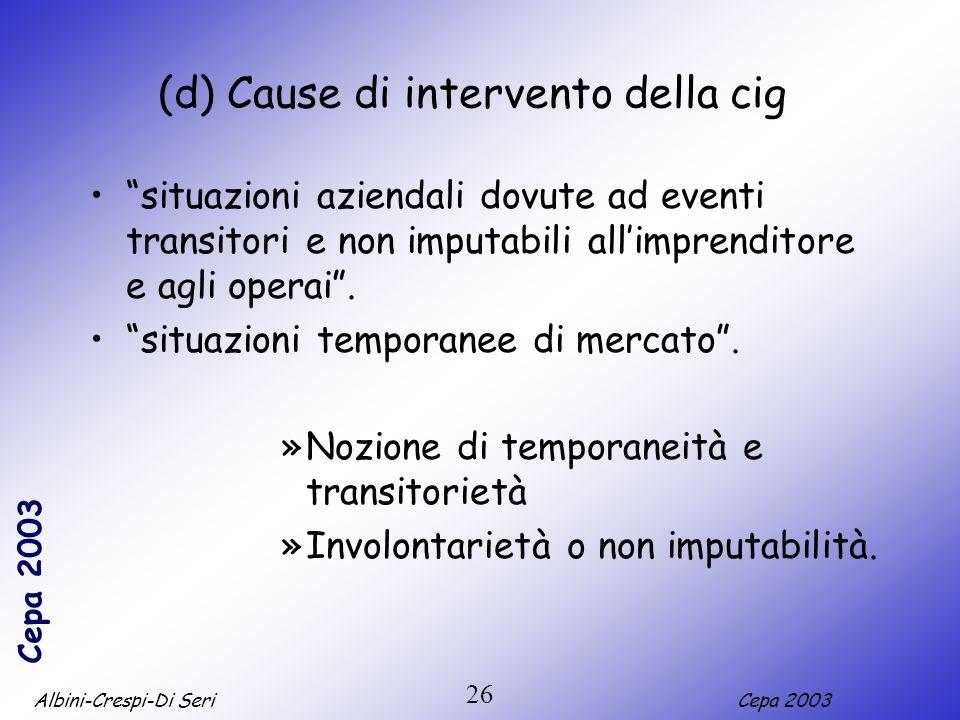 (d) Cause di intervento della cig