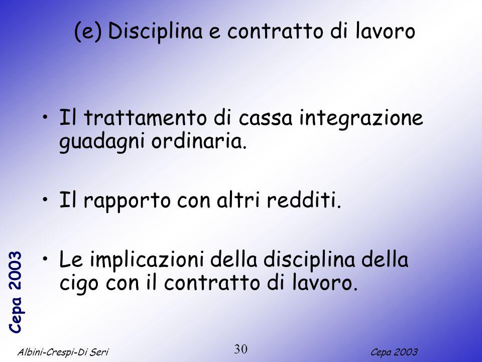 (e) Disciplina e contratto di lavoro