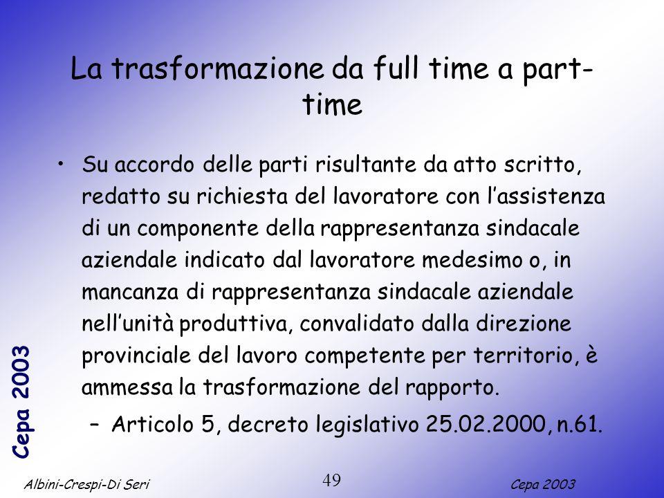 La trasformazione da full time a part-time