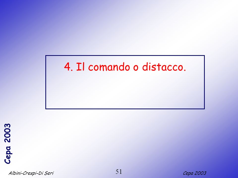 4. Il comando o distacco. 51