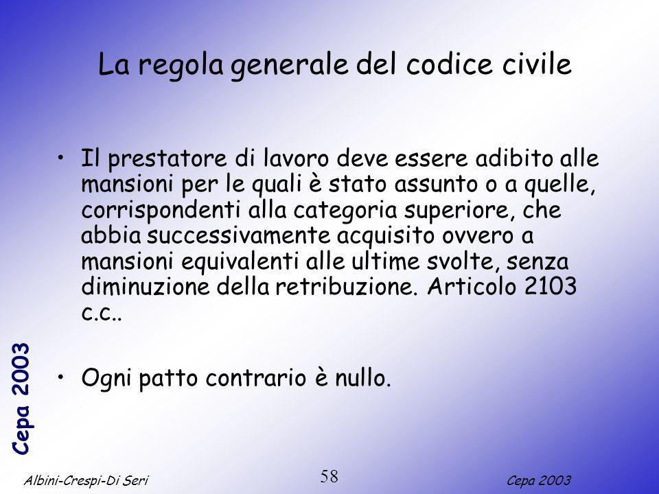 La regola generale del codice civile