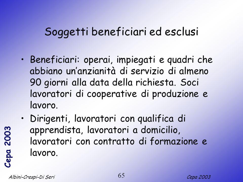 Soggetti beneficiari ed esclusi