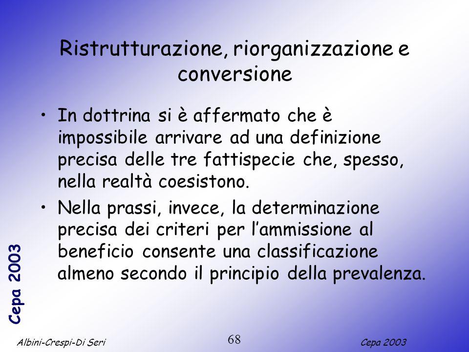 Ristrutturazione, riorganizzazione e conversione
