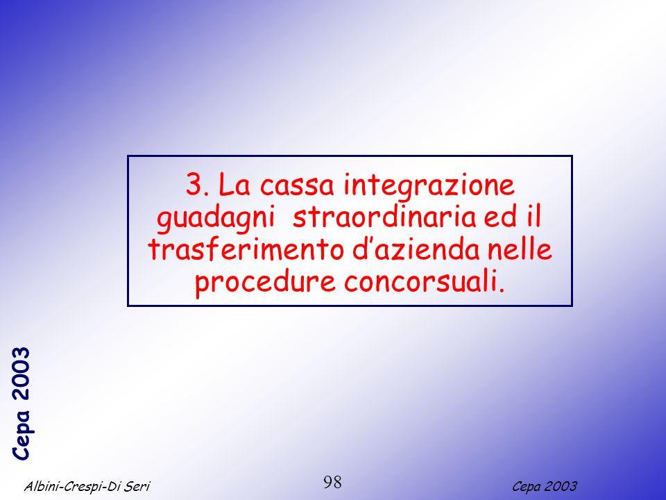 3. La cassa integrazione guadagni straordinaria ed il trasferimento d'azienda nelle procedure concorsuali.