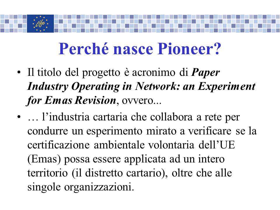 Perché nasce Pioneer Il titolo del progetto è acronimo di Paper Industry Operating in Network: an Experiment for Emas Revision, ovvero...