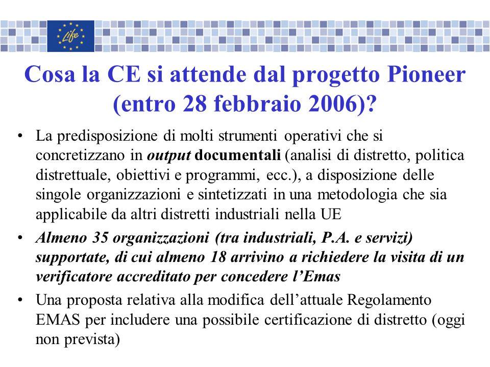 Cosa la CE si attende dal progetto Pioneer (entro 28 febbraio 2006)