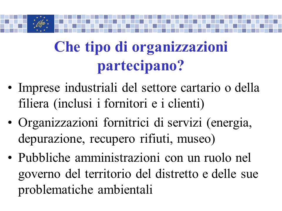 Che tipo di organizzazioni partecipano