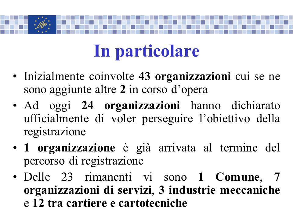 In particolare Inizialmente coinvolte 43 organizzazioni cui se ne sono aggiunte altre 2 in corso d'opera.