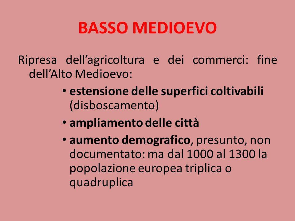 BASSO MEDIOEVORipresa dell'agricoltura e dei commerci: fine dell'Alto Medioevo: estensione delle superfici coltivabili (disboscamento)