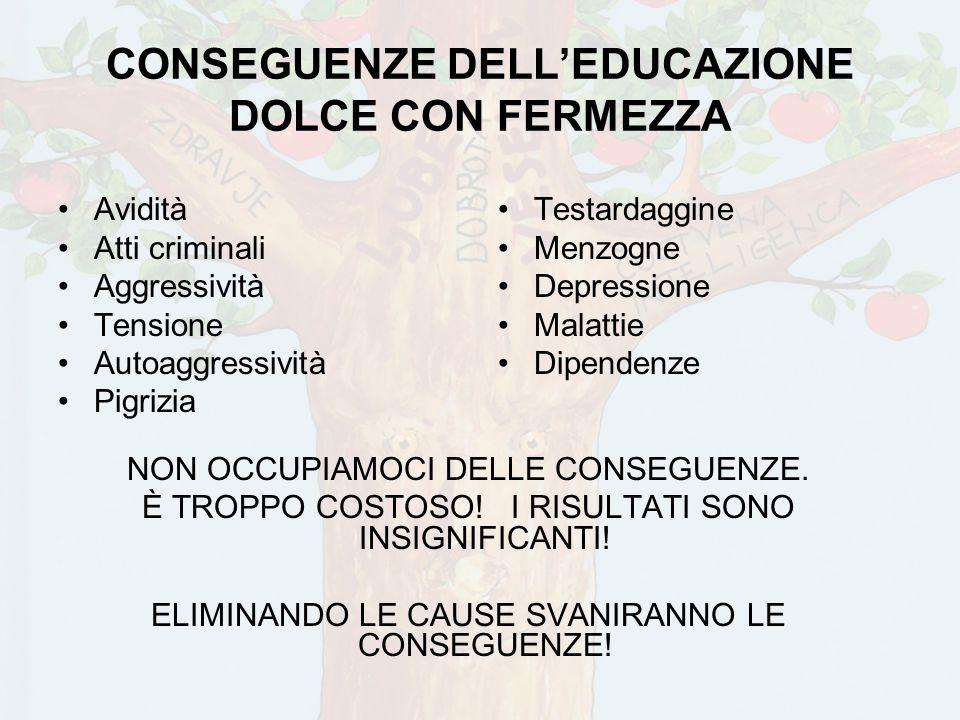 CONSEGUENZE DELL'EDUCAZIONE DOLCE CON FERMEZZA