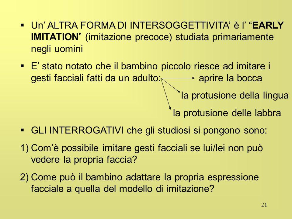 Un' ALTRA FORMA DI INTERSOGGETTIVITA' è l' EARLY IMITATION (imitazione precoce) studiata primariamente negli uomini