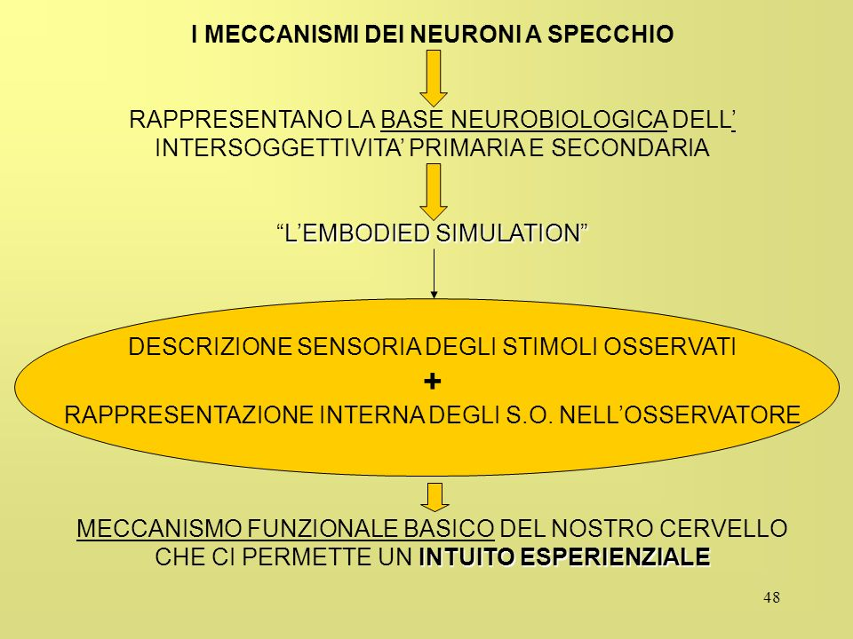 I MECCANISMI DEI NEURONI A SPECCHIO
