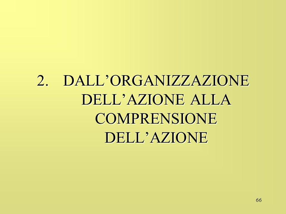 DALL'ORGANIZZAZIONE DELL'AZIONE ALLA COMPRENSIONE DELL'AZIONE