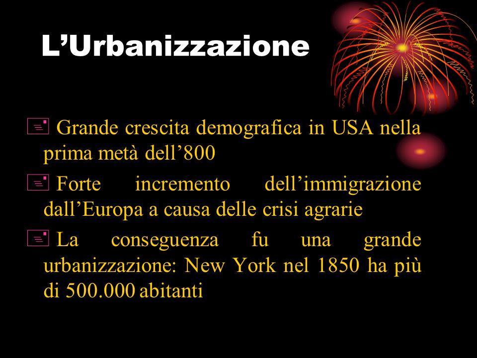 L'Urbanizzazione Grande crescita demografica in USA nella prima metà dell'800.