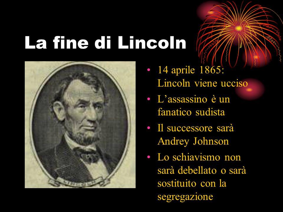 La fine di Lincoln 14 aprile 1865: Lincoln viene ucciso