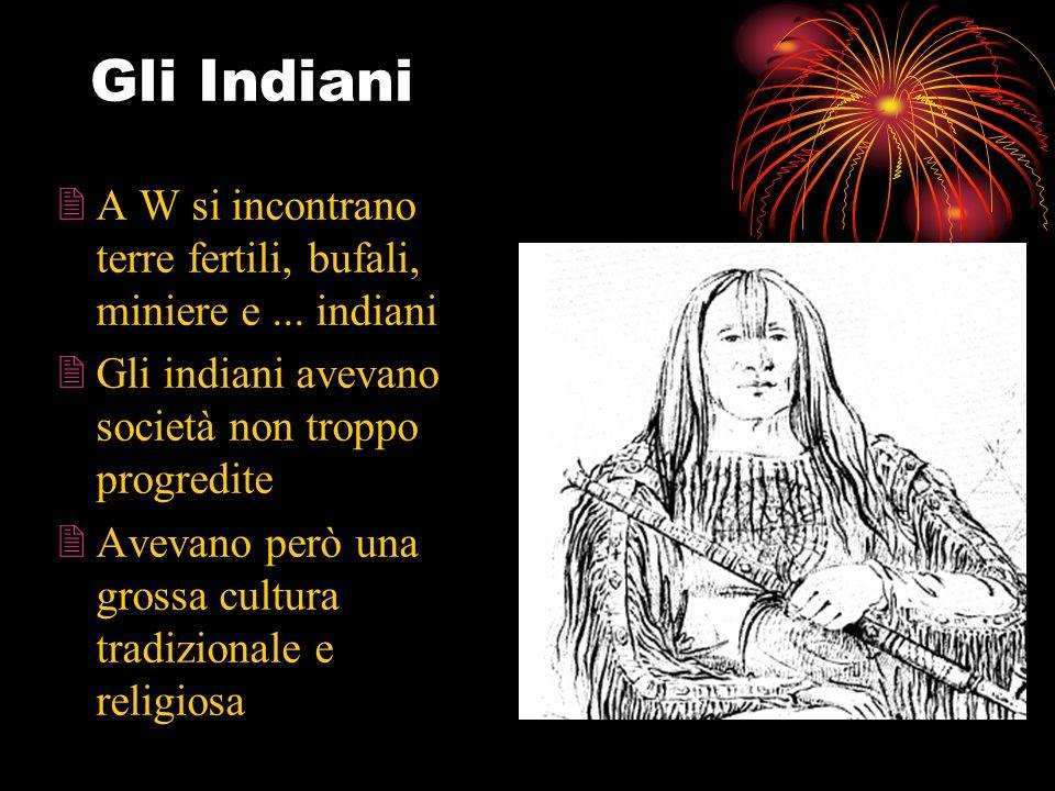Gli Indiani A W si incontrano terre fertili, bufali, miniere e ... indiani. Gli indiani avevano società non troppo progredite.