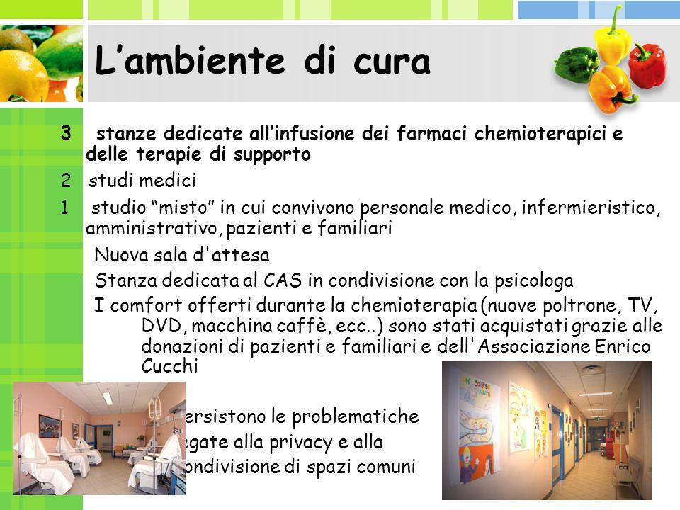 L'ambiente di cura 3 stanze dedicate all'infusione dei farmaci chemioterapici e delle terapie di supporto.