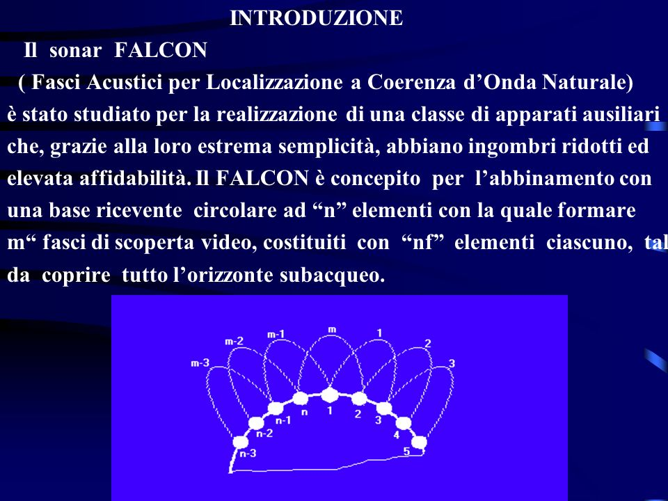 INTRODUZIONE Il sonar FALCON. ( Fasci Acustici per Localizzazione a Coerenza d'Onda Naturale)