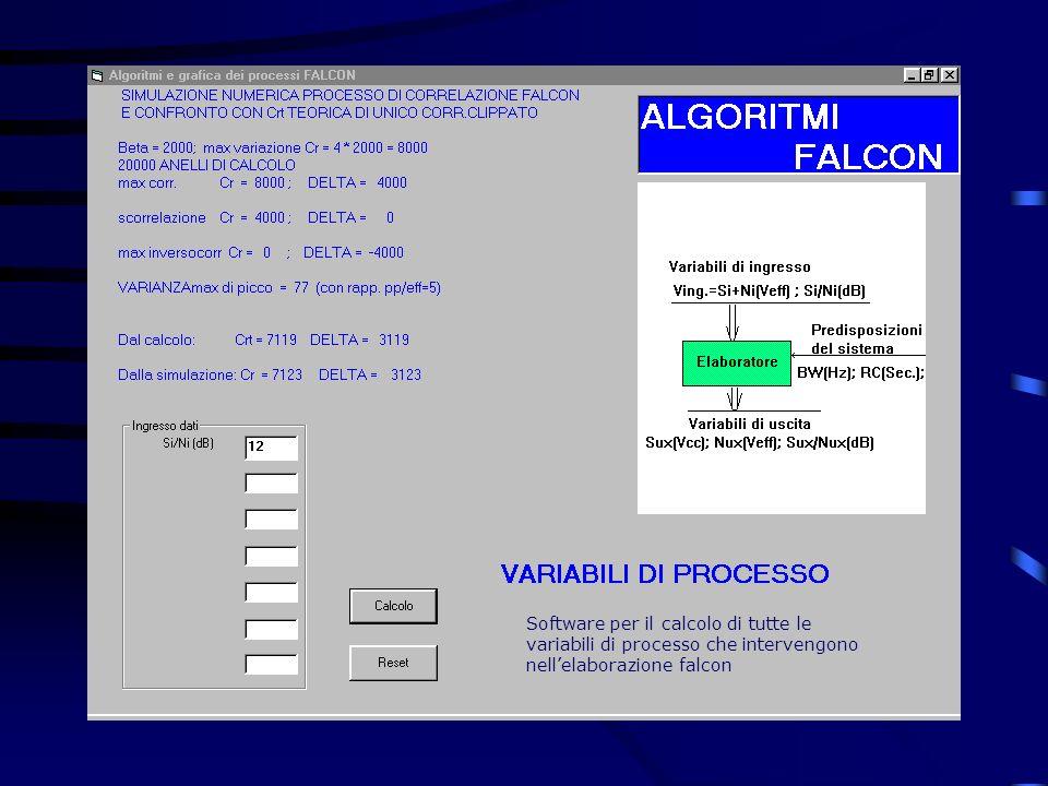 Software per il calcolo di tutte le variabili di processo che intervengono nell'elaborazione falcon