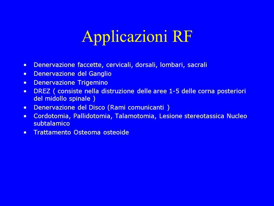 Applicazioni RF Denervazione faccette, cervicali, dorsali, lombari, sacrali. Denervazione del Ganglio.