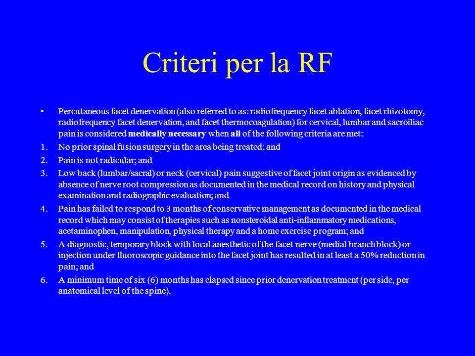 Criteri per la RF