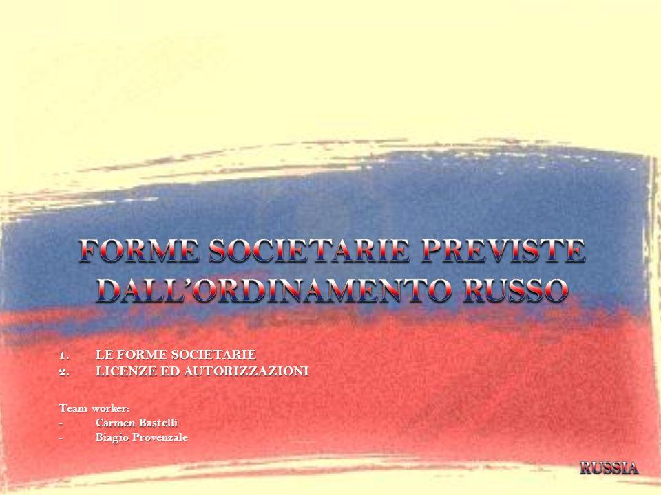 FORME SOCIETARIE PREVISTE DALL'ORDINAMENTO RUSSO
