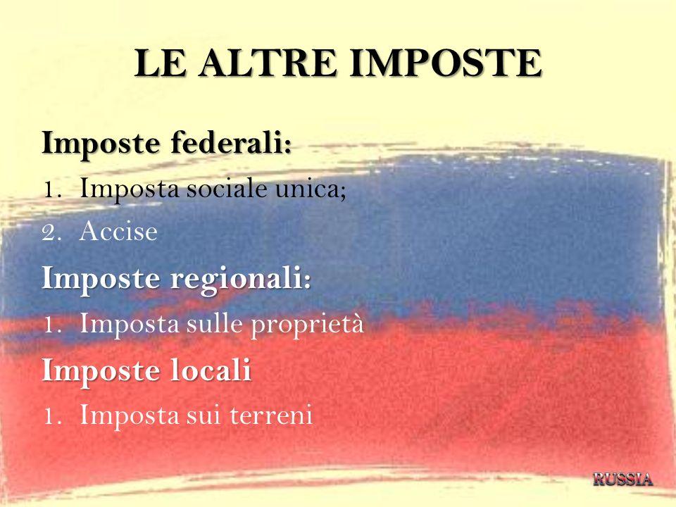 LE ALTRE IMPOSTE Imposte federali: Imposte regionali: Imposte locali