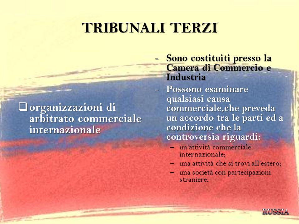 TRIBUNALI TERZI organizzazioni di arbitrato commerciale internazionale