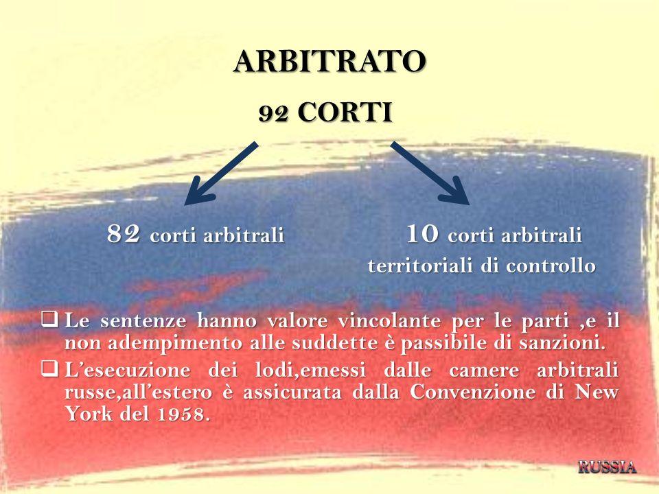 ARBITRATO 92 CORTI 82 corti arbitrali 10 corti arbitrali